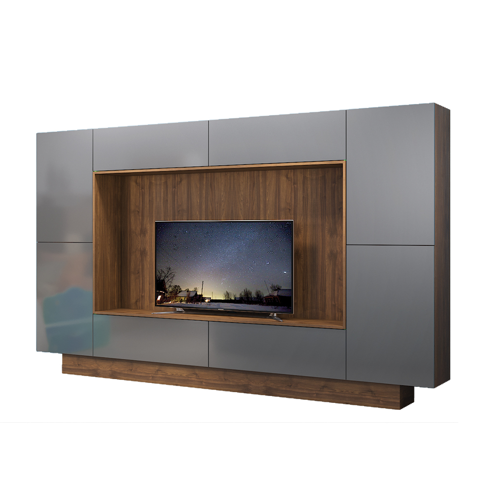 Шкаф комбинированный 08 44 Нокс орех селект каминный К 020 графит глянец ПВХ - купить в Нижнем Новгороде | интернет-магазин Мебель Плюс